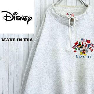 ディズニー(Disney)のディズニー USA製 トレーナー スウェット ライトグレー ハーフジップ(スウェット)