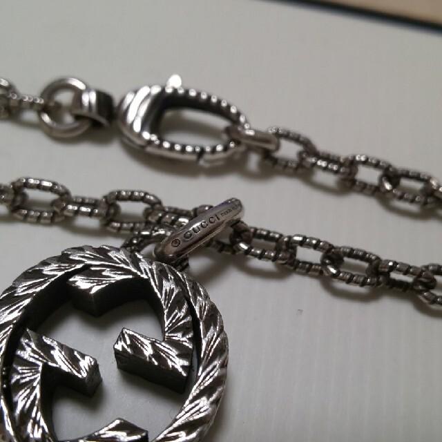 Gucci(グッチ)のほぼ未使用 GUCCI 燻し ネックレス インターロッキング ラージサイズ メンズのアクセサリー(ネックレス)の商品写真