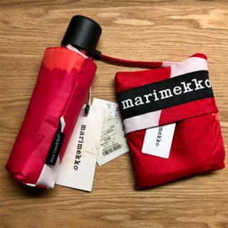 マリメッコ(marimekko)の【54%OFF】マリメッコ 折りたたみ傘+スマートバッグ ピエニウニッコ赤(傘)