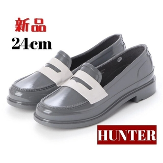 ハンター(HUNTER)の【HUNTER / ハンター レインシューズ ローファー  24cm】新品未使用(レインブーツ/長靴)