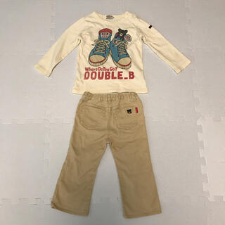 ダブルビー(DOUBLE.B)のDOUBLE.B ダブルビー B ロングTシャツ&パンツ サイズ90㎝(Tシャツ/カットソー)
