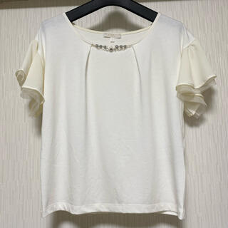 PROPORTION BODY DRESSING - プロポーションボディドレッシング ビジュー付き袖シフォンティアードプルオーバー