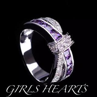 送料無料13号クロムシルバーアメジストスーパーCZダイヤデザイナーズリング指輪(リング(指輪))