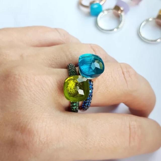 ぷっくり ポメラート 好きに キャンディ パヴェ ロンドンブルトパーズ カラー レディースのアクセサリー(リング(指輪))の商品写真