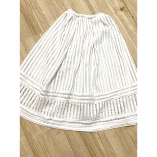 エイチアンドエム(H&M)のH&M ホワイトレースカットフレアスカート(ひざ丈スカート)