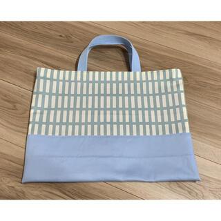レッスンバッグ・手さげバッグ 北欧風 格子柄 水色(バッグ/レッスンバッグ)