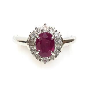【期間限定】1.1ct天然ルビー、0.3ctダイヤモンド付、Pt900 指輪(リング(指輪))