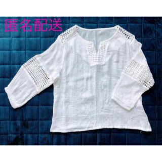 刺繍レースデザインのトップス(TELVIAN、白、七分〜長袖)
