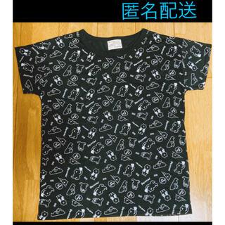しまむら - ゆったりTシャツ(ブラック、丈長、くまイラスト)