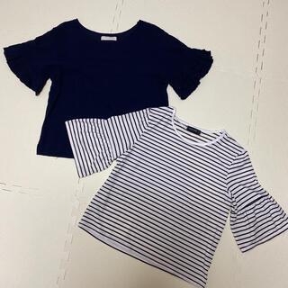 ディスコート(Discoat)の2点セット!袖フリル Tシャツ カットソー (Tシャツ(半袖/袖なし))