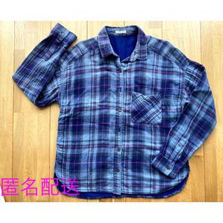 GU - チェック柄のふんわりシャツ(ネイビー系、GU)