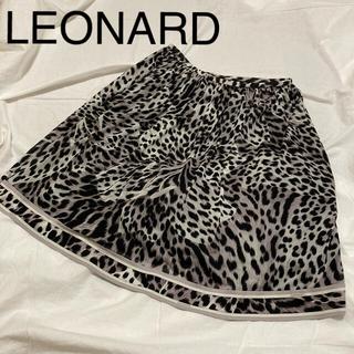 レオナール(LEONARD)のLEONARD レオナール カンカン 総柄スカート ひざ丈 36(ひざ丈スカート)