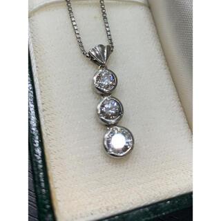 数回 定価45万 Pt900 ダイヤ スリーストーン 3石 ネックレス D1.0