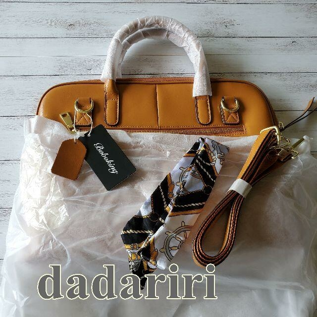 高級 本革 ブラウン 3点セットバッグ 2WAY スカーフチャーム付き レディースのバッグ(ハンドバッグ)の商品写真