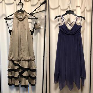 エメ(AIMER)のAIMER エメ ドレス 9号 グレイ パープル 2着セット(ミディアムドレス)