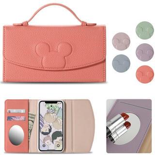 iPhone - かくれミッキー スマホケース 手帳型 ハンドバッグデザイン おしゃれ コーラル