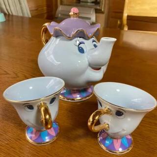 Disney - 美女と野獣 ティーポット ティーカップ 3点セット 茶こし付き