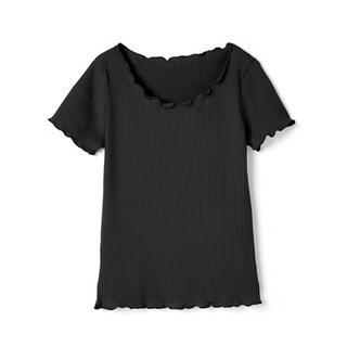 グレイル(GRL)のGRL メロウリブトップス ブラック Lサイズ (カットソー(半袖/袖なし))