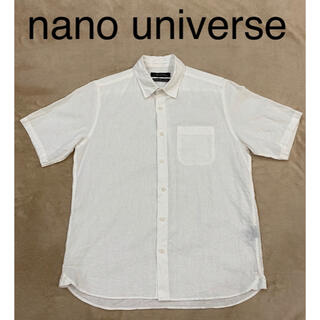 ナノユニバース(nano・universe)のnano universe フレンチリネン半袖シャツ ホワイト メンズ Mサイズ(シャツ)