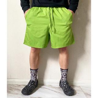 ヨウジヤマモト(Yohji Yamamoto)のvintage 90s 蛍光グリーン イエロー コットン バギーショーツ 短パン(ショートパンツ)