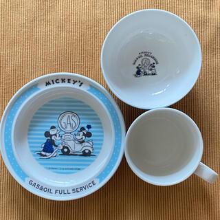 ディズニー(Disney)のミッキー ディズニー 子供食器セット 茶碗・プレート・マグカップ ブルー(離乳食器セット)