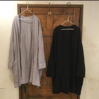 nest Robe - ネストローブ 縮緬加工リネン カラーレスジャケット