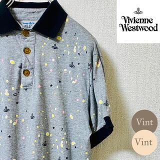 Vivienne Westwood - ヴィヴィアンウエストウッド 半袖 ポロシャツ オーブ 総柄 個性派 マーブル
