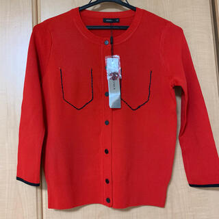 モマ(MOMA)の【新品⭐️タグ付き】赤 カーディガン トップス カットソー 羽織り ピンク(カーディガン)