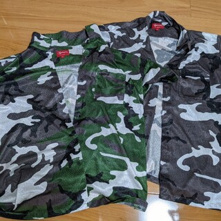 supreme2枚セットCamo Mesh shirt(Grey+Green)L