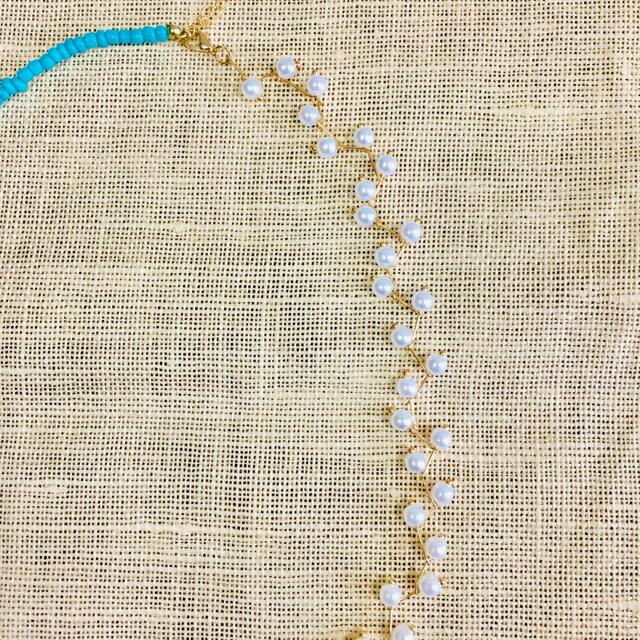 【最終お値下げ】【新品】 デザインパールターコイズネックレス ゴールド   レディースのアクセサリー(ネックレス)の商品写真