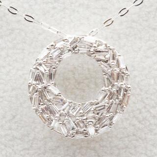 K18WG 合計 0.40ct ダイヤモンド ペンダント ネックレス