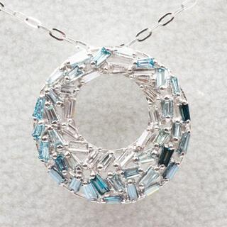 K18WG 合計 0.40ct ブルーダイヤモンド ペンダント ネックレス