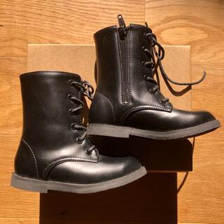 編み上げ ブーツ キッズ 黒 16cm