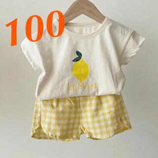 ☆新品☆キッズ セットアップ フルーツ柄Tシャツ&チェックパンツ 韓国子供服