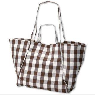 シマムラ(しまむら)の新品 しまむら てらさん コラボ チェック柄大きいトートバッグ(ショルダーバッグ)