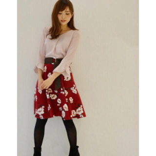 PROPORTION BODY DRESSING - プロポーションボディドレッシング ビンテージフラワー ボルドー スカート 膝丈