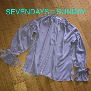 セブンデイズサンデイ(SEVENDAYS=SUNDAY)のSEVENDAYS=SUNDAY キャンディースリーブブラウス ラベンダー(シャツ/ブラウス(長袖/七分))