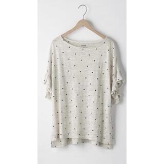 coen - coen フレンチリネンドットプリントフリルスリーブTシャツ
