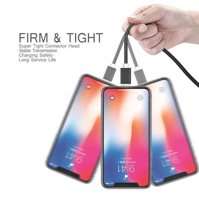 新品 1m 2本 2m2USB急速充電ケーブル lightning  数量限定 スマホ/家電/カメラのスマートフォン/携帯電話(バッテリー/充電器)の商品写真