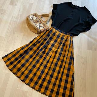 タグ付新品*紺×マスタード ブロックチェック フレアスカート
