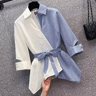大きいサイズ レディース 春夏 トップス シャツ ベルト 長袖