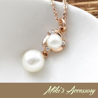 18KRGP スウィングパールネックレス ピンクゴールド レディース 真珠(ネックレス)