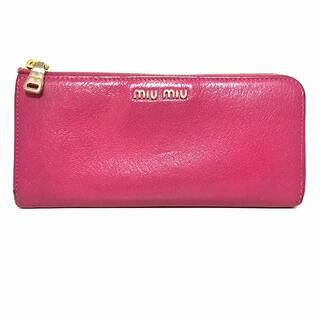 ミュウミュウ(miumiu)のミュウミュウ 長財布 - ピンク レザー(財布)
