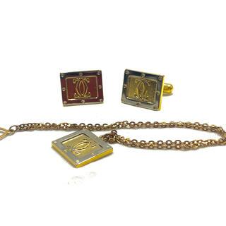 カルティエ(Cartier)の【極美品】Cartier カルティエ カフス ネクタイチェーン ゴールド ロゴ(カフリンクス)