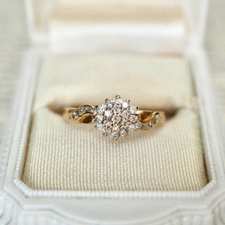 agete - イギリス アンティークリング ダイヤモンドクラスター 美品*agete