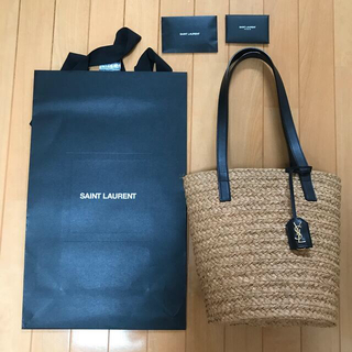Saint Laurent - サンローラン ラフィア ナチュラル ブラック
