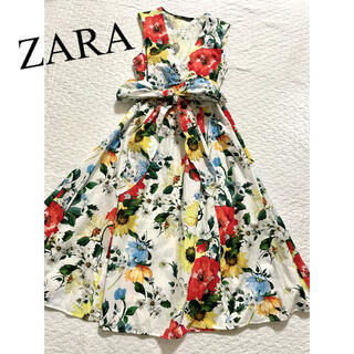 ZARA - ☆ZARA☆ザラ  フラワープリントロングワンピース ウエストリボン