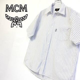 エムシーエム(MCM)の美品 MCM 半袖コットンシャツ メンズM ホワイト タグロゴ (Tシャツ/カットソー(半袖/袖なし))