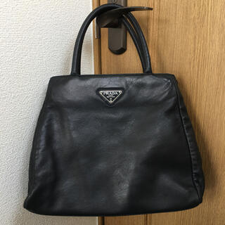 PRADA - ☆希少品☆プラダPRADA ハンドバッグ ナッパ オールレザー 高級革 黒