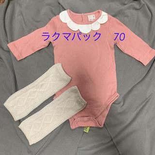 プティマイン(petit main)のプティマイン ロンパース ピンク 70  レッグウォーマー付(ロンパース)